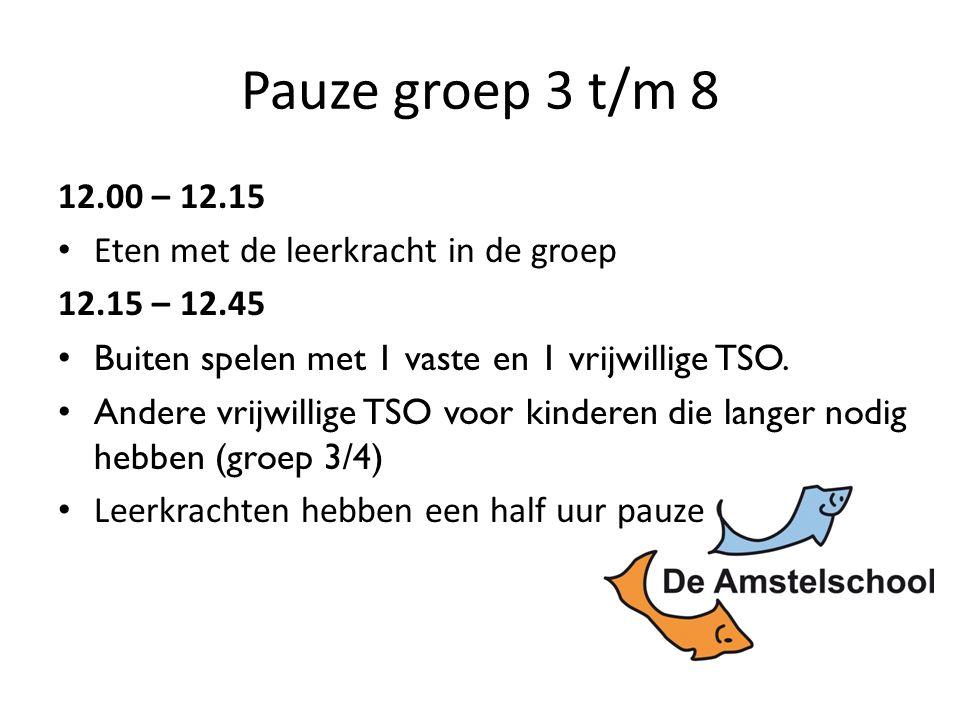 Pauze groep 3 t/m 8 12.00 – 12.15 Eten met de leerkracht in de groep 12.15 – 12.45 Buiten spelen met 1 vaste en 1 vrijwillige TSO.