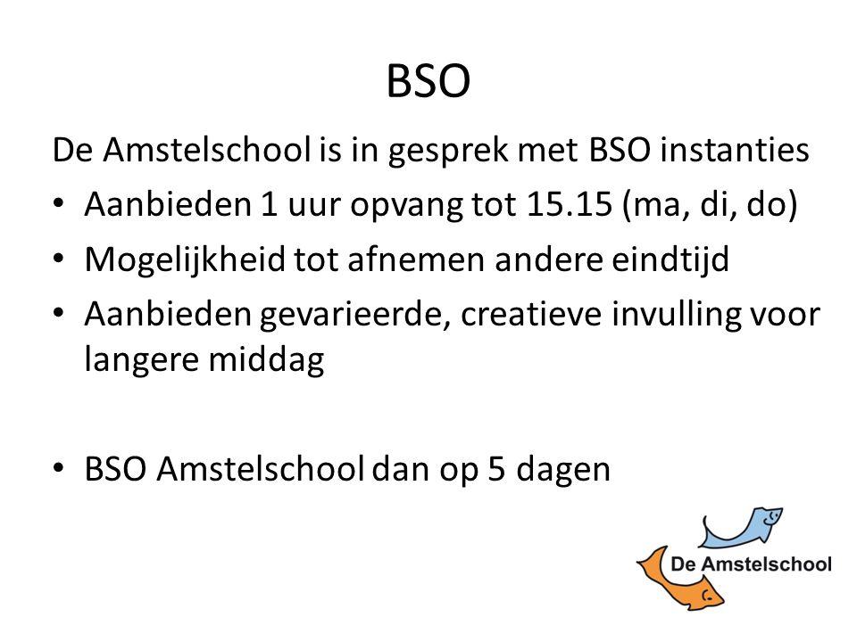 BSO De Amstelschool is in gesprek met BSO instanties Aanbieden 1 uur opvang tot 15.15 (ma, di, do) Mogelijkheid tot afnemen andere eindtijd Aanbieden gevarieerde, creatieve invulling voor langere middag BSO Amstelschool dan op 5 dagen