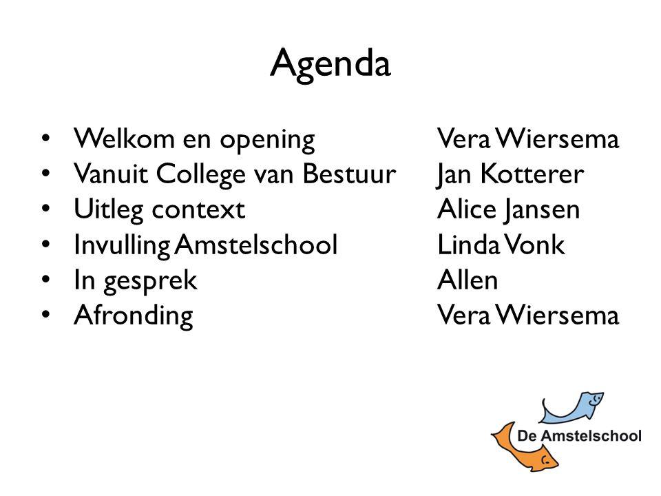 Welkom en opening Vera Wiersema Vanuit College van BestuurJan Kotterer Uitleg contextAlice Jansen Invulling AmstelschoolLinda Vonk In gesprekAllen AfrondingVera Wiersema Agenda