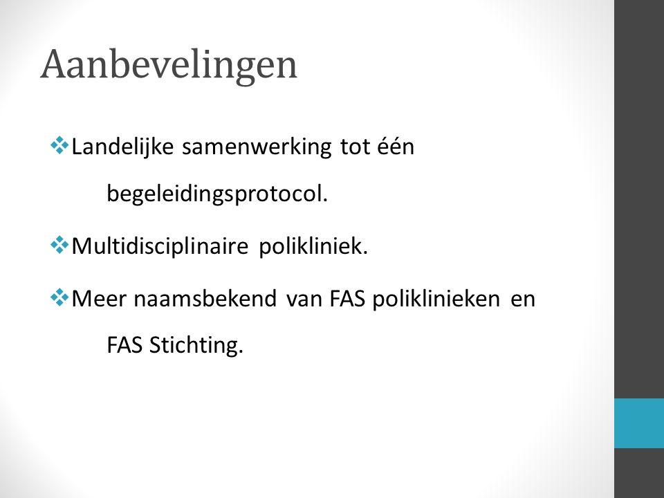 Aanbevelingen  Landelijke samenwerking tot één begeleidingsprotocol.  Multidisciplinaire polikliniek.  Meer naamsbekend van FAS poliklinieken en FA