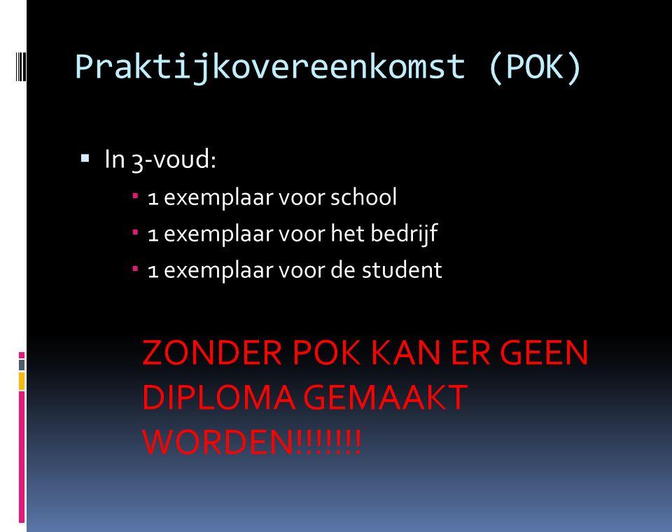 Praktijkovereenkomst (POK)  In 3-voud:  1 exemplaar voor school  1 exemplaar voor het bedrijf  1 exemplaar voor de student ZONDER POK KAN ER GEEN DIPLOMA GEMAAKT WORDEN!!!!!!!