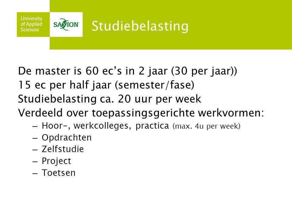 Studiebelasting De master is 60 ec's in 2 jaar (30 per jaar)) 15 ec per half jaar (semester/fase) Studiebelasting ca.
