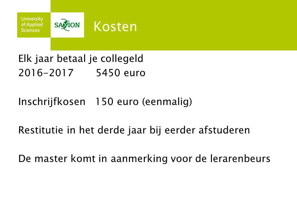 Kosten Elk jaar betaal je collegeld 2016-2017 5450 euro Inschrijfkosen 150 euro (eenmalig) Restitutie in het derde jaar bij eerder afstuderen De master komt in aanmerking voor de lerarenbeurs