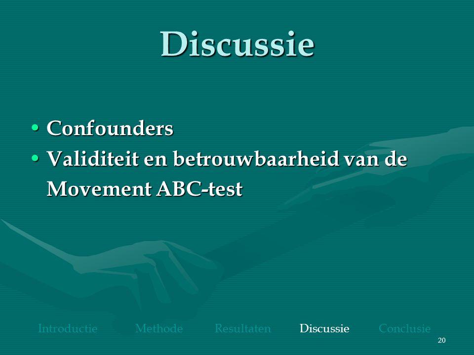 20 Discussie Confounders Confounders Validiteit en betrouwbaarheid van de Validiteit en betrouwbaarheid van de Movement ABC-test Introductie Methode Resultaten Discussie Conclusie