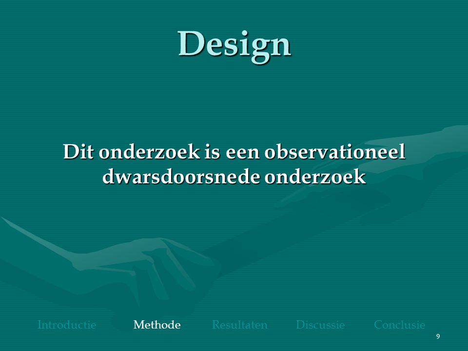 9 Design Dit onderzoek is een observationeel dwarsdoorsnede onderzoek Introductie Methode Resultaten Discussie Conclusie
