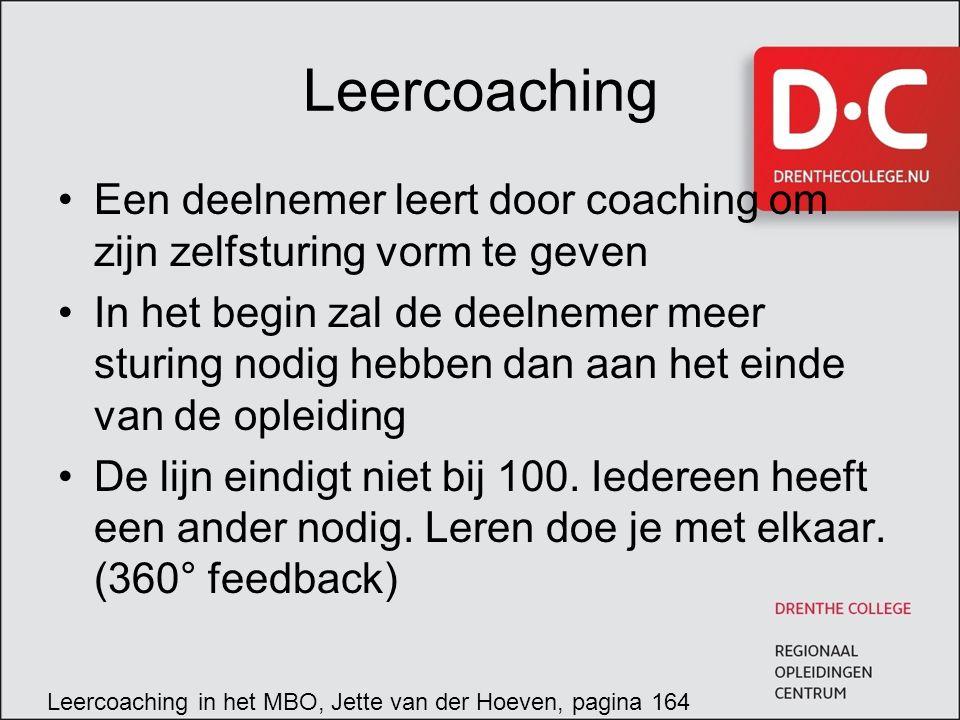 Leercoaching Een deelnemer leert door coaching om zijn zelfsturing vorm te geven In het begin zal de deelnemer meer sturing nodig hebben dan aan het einde van de opleiding De lijn eindigt niet bij 100.