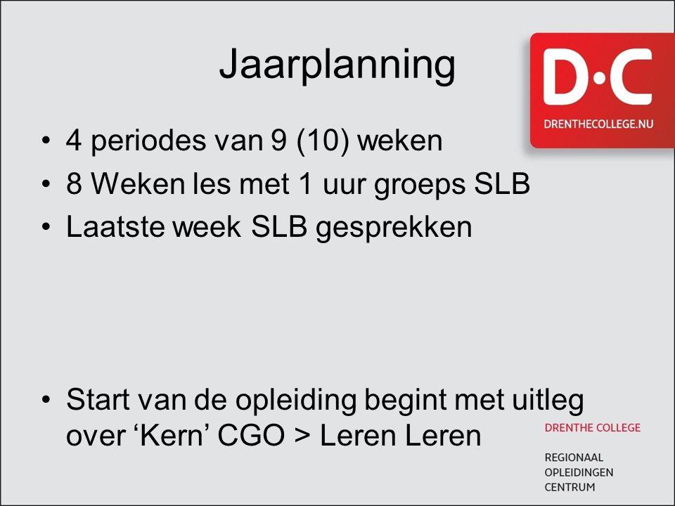 Jaarplanning 4 periodes van 9 (10) weken 8 Weken les met 1 uur groeps SLB Laatste week SLB gesprekken Start van de opleiding begint met uitleg over 'Kern' CGO > Leren Leren