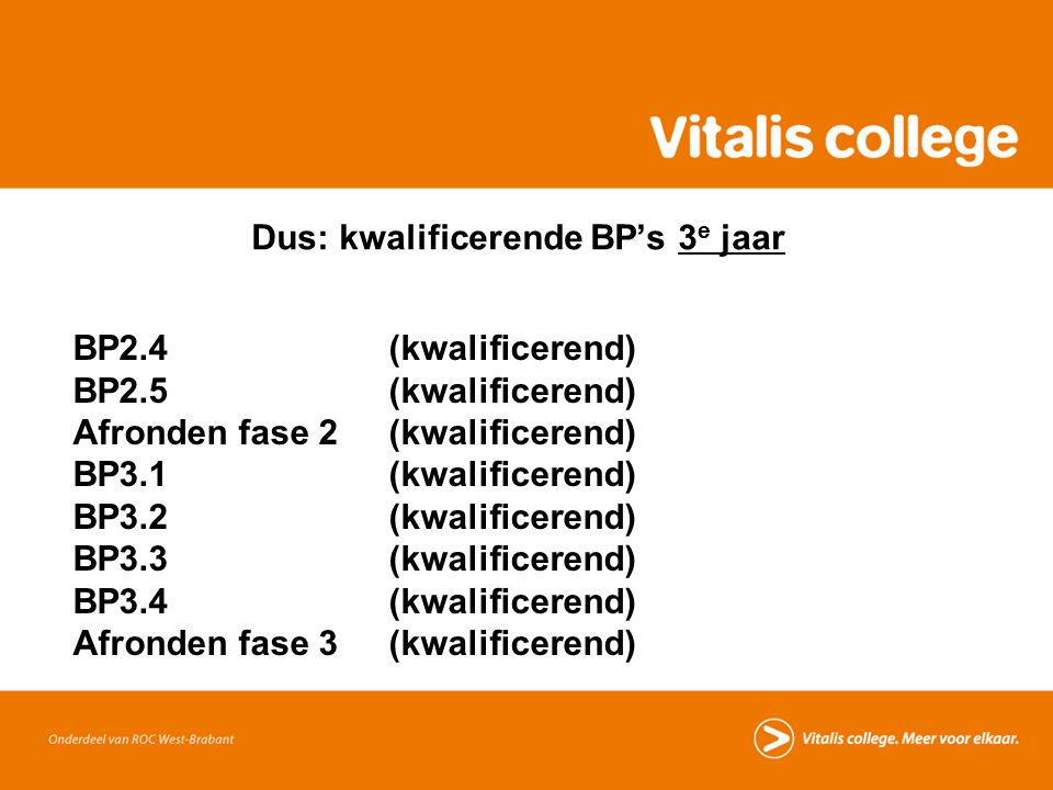 Dus: kwalificerende BP's 3 e jaar BP2.4 (kwalificerend) BP2.5 (kwalificerend) Afronden fase 2 (kwalificerend) BP3.1 (kwalificerend) BP3.2 (kwalificerend) BP3.3 (kwalificerend) BP3.4 (kwalificerend) Afronden fase 3 (kwalificerend)