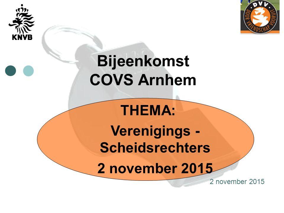 Bijeenkomst COVS Arnhem THEMA: Verenigings - Scheidsrechters 2 november 2015
