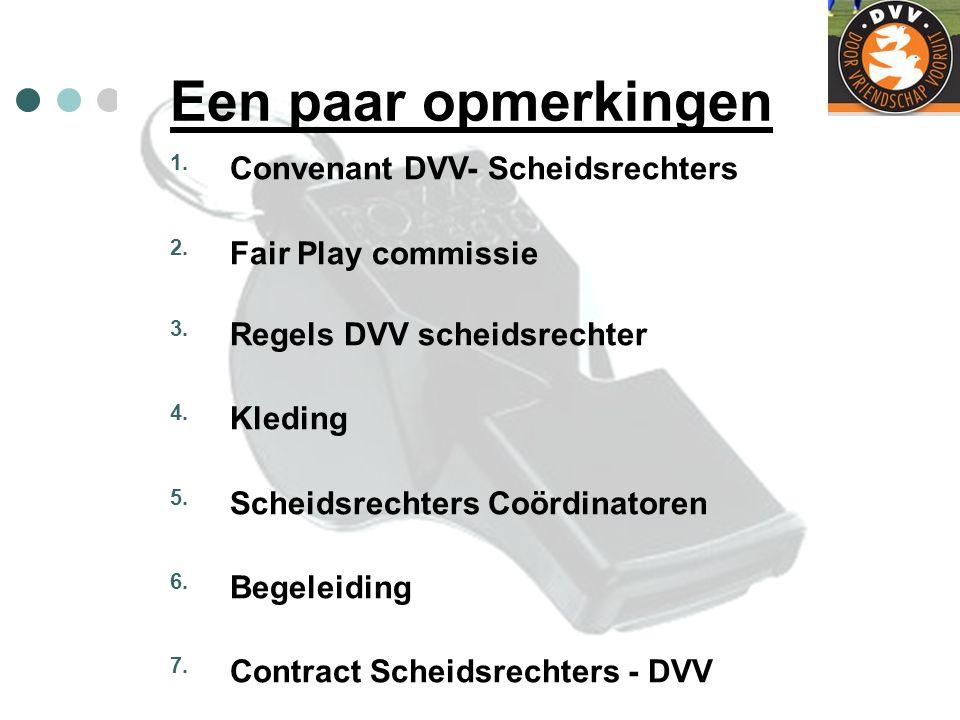 Een paar opmerkingen 1. Convenant DVV- Scheidsrechters 2. Fair Play commissie 3. Regels DVV scheidsrechter 4. Kleding 5. Scheidsrechters Coördinatoren