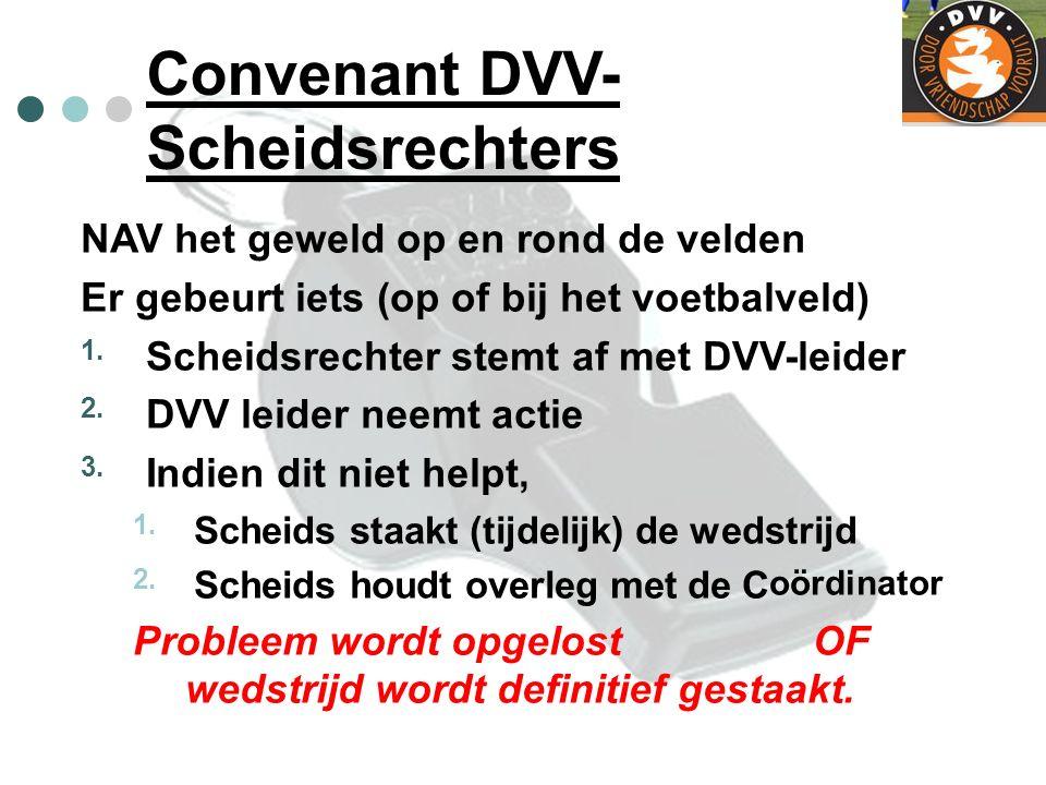 Convenant DVV- Scheidsrechters NAV het geweld op en rond de velden Er gebeurt iets (op of bij het voetbalveld) 1. Scheidsrechter stemt af met DVV-leid