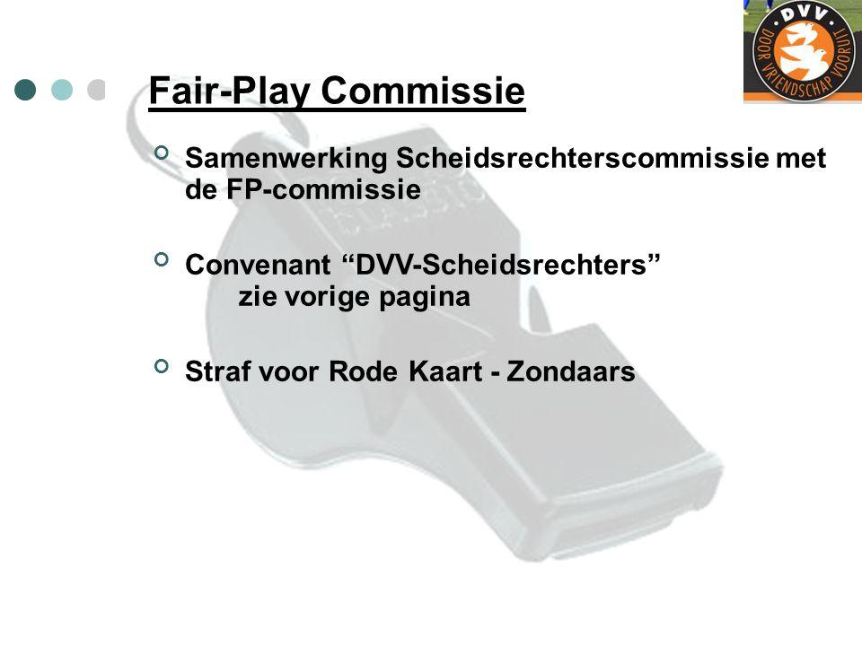 """Fair-Play Commissie Samenwerking Scheidsrechterscommissie met de FP-commissie Convenant """"DVV-Scheidsrechters"""" zie vorige pagina Straf voor Rode Kaart"""