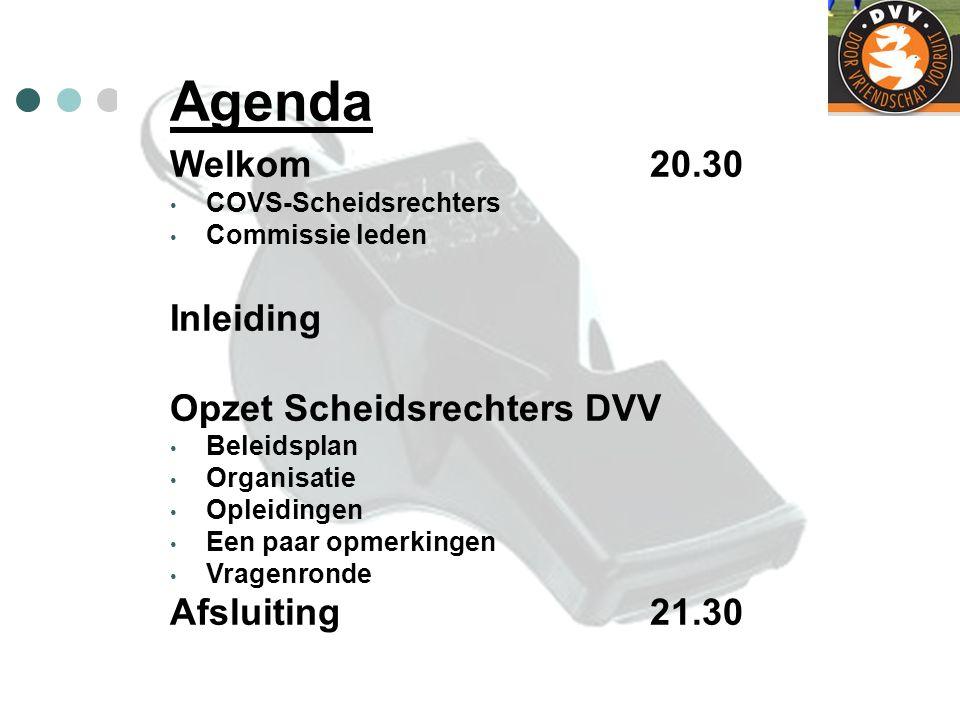 Agenda Welkom20.30 COVS-Scheidsrechters Commissie leden Inleiding Opzet Scheidsrechters DVV Beleidsplan Organisatie Opleidingen Een paar opmerkingen V