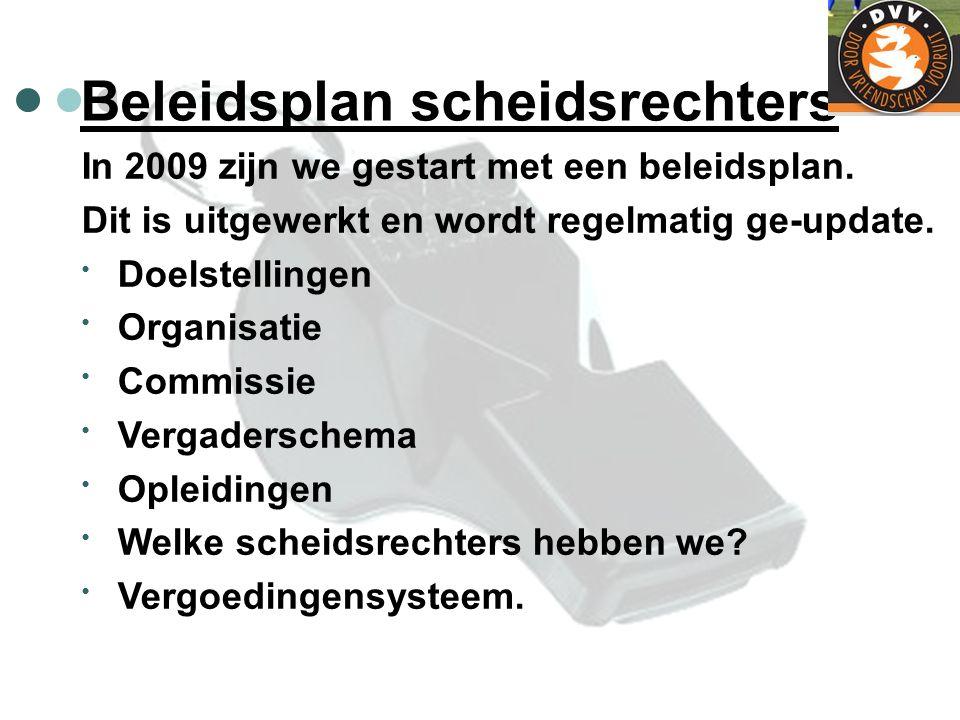 Beleidsplan scheidsrechters In 2009 zijn we gestart met een beleidsplan. Dit is uitgewerkt en wordt regelmatig ge-update. Doelstellingen Organisatie C