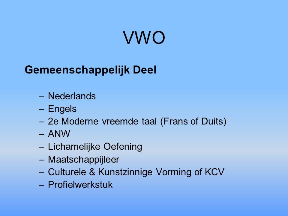 VWO Gemeenschappelijk Deel –N–Nederlands –E–Engels –2–2e Moderne vreemde taal (Frans of Duits) –A–ANW –L–Lichamelijke Oefening –M–Maatschappijleer –C–Culturele & Kunstzinnige Vorming of KCV –P–Profielwerkstuk