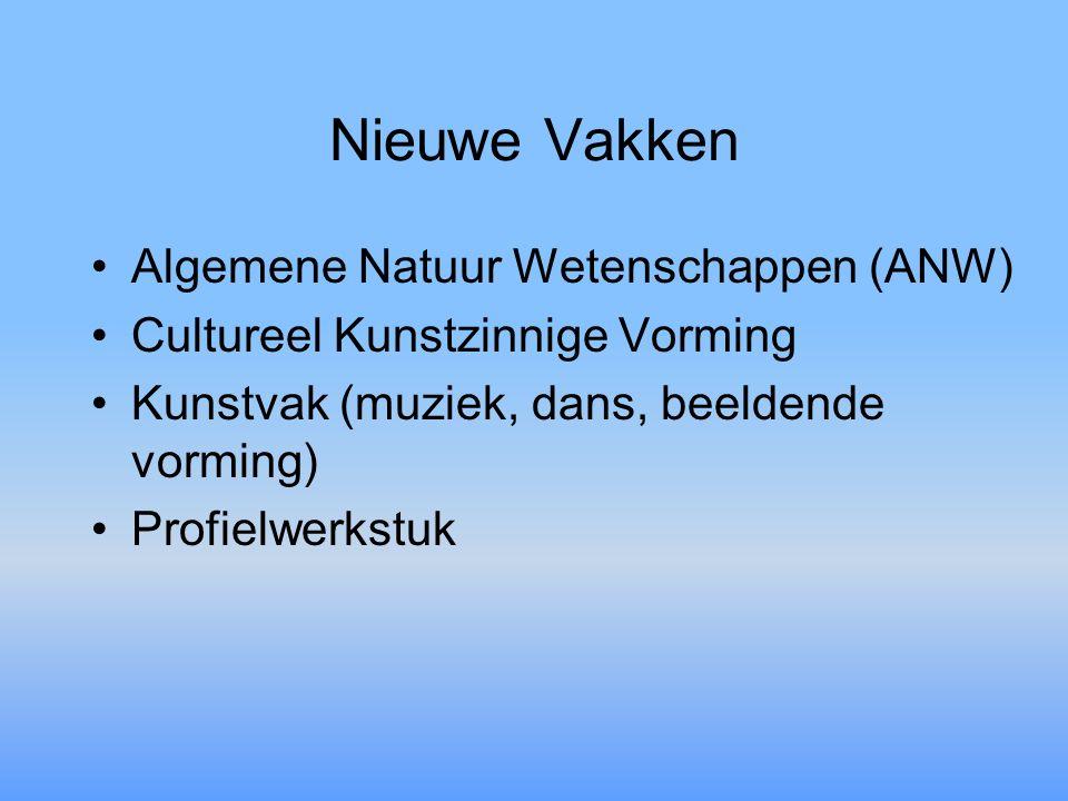 Nieuwe Vakken Algemene Natuur Wetenschappen (ANW) Cultureel Kunstzinnige Vorming Kunstvak (muziek, dans, beeldende vorming) Profielwerkstuk
