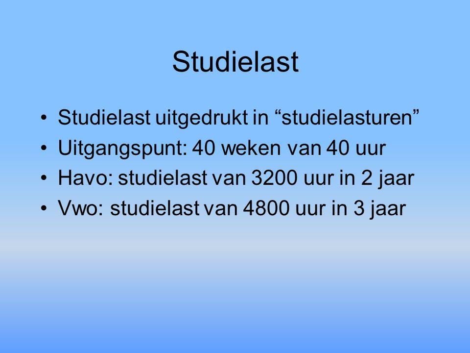 Studielast Studielast uitgedrukt in studielasturen Uitgangspunt: 40 weken van 40 uur Havo: studielast van 3200 uur in 2 jaar Vwo: studielast van 4800 uur in 3 jaar