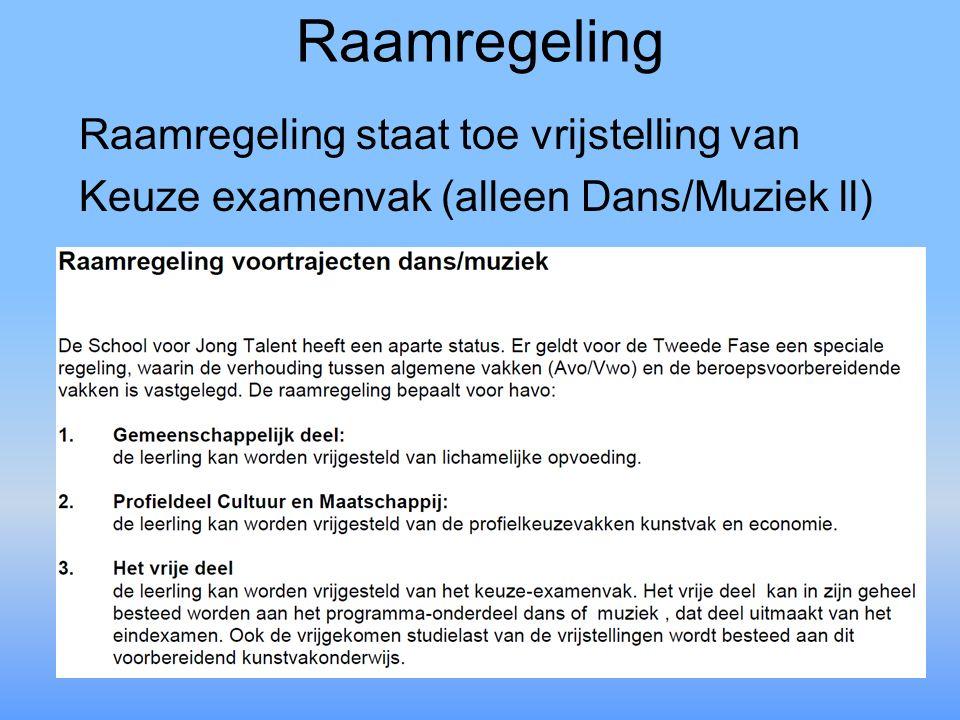 Raamregeling Raamregeling staat toe vrijstelling van Keuze examenvak (alleen Dans/Muziek ll)