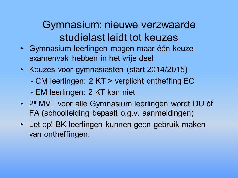 Gymnasium: nieuwe verzwaarde studielast leidt tot keuzes Gymnasium leerlingen mogen maar één keuze- examenvak hebben in het vrije deel Keuzes voor gym