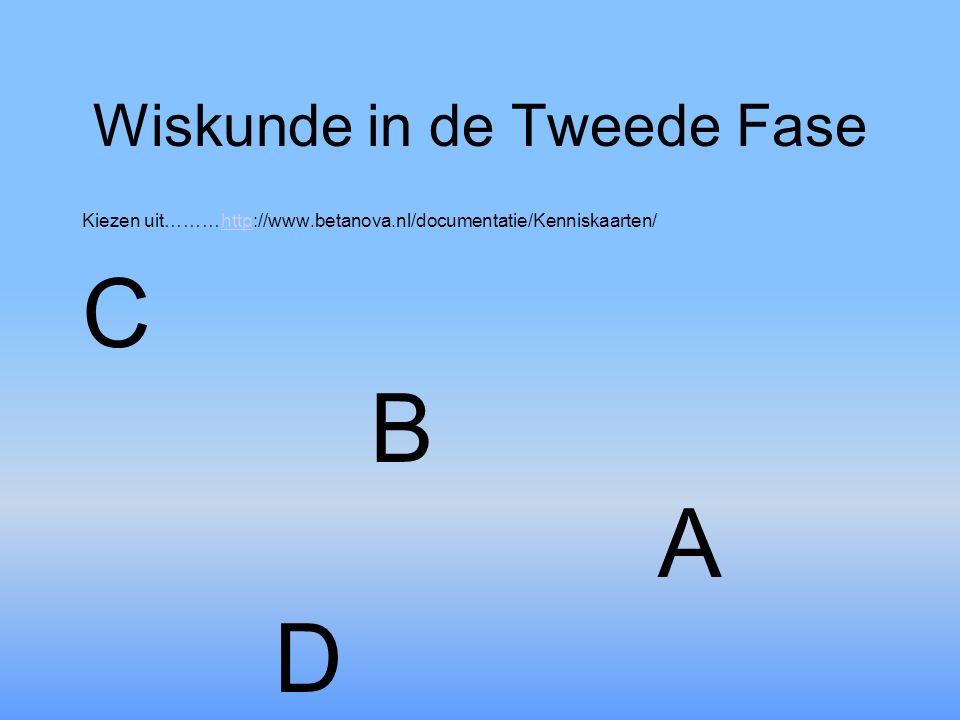 Wiskunde in de Tweede Fase Kiezen uit………http://www.betanova.nl/documentatie/Kenniskaarten/http C B A D