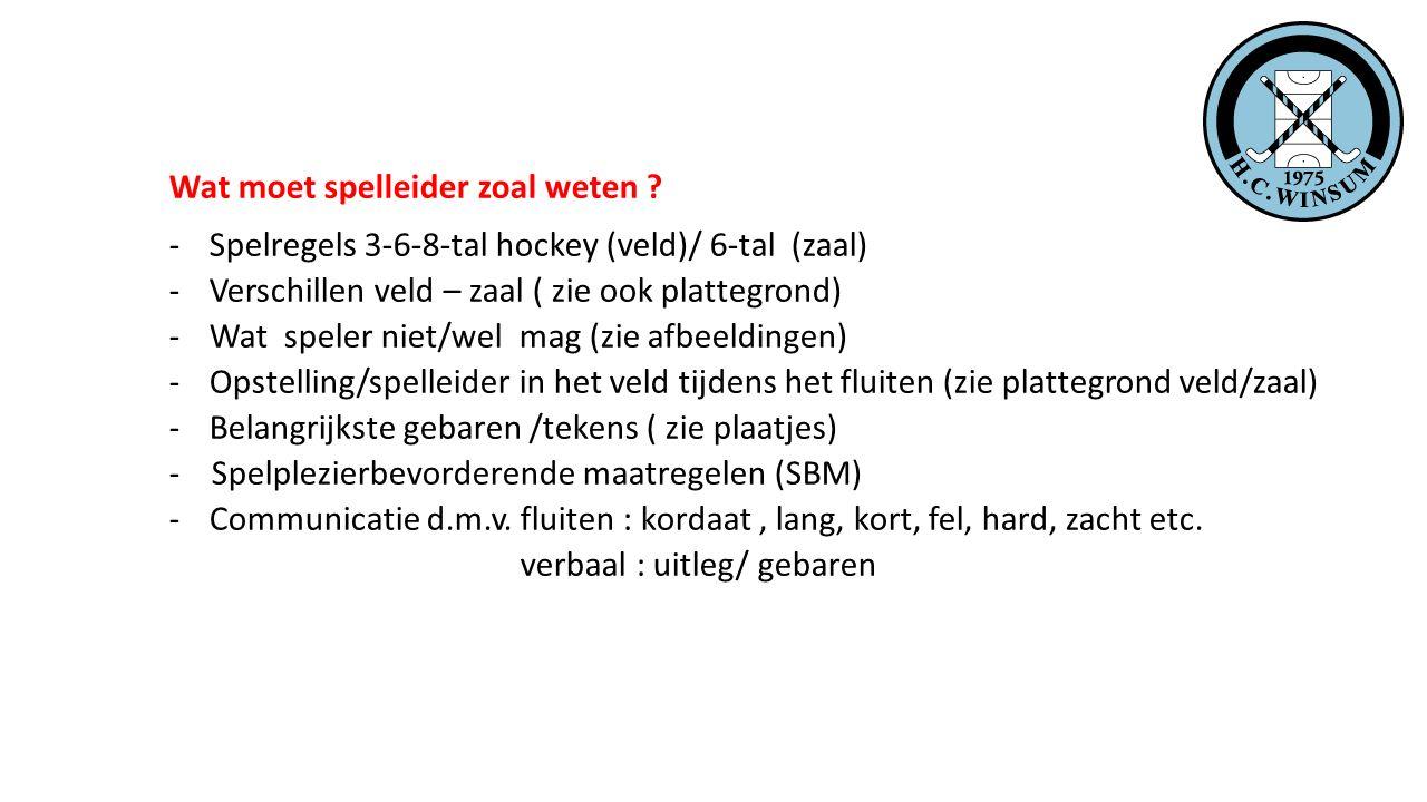 Wat moet spelleider zoal weten ? -Spelregels 3-6-8-tal hockey (veld)/ 6-tal (zaal) -Verschillen veld – zaal ( zie ook plattegrond) -Wat speler niet/we