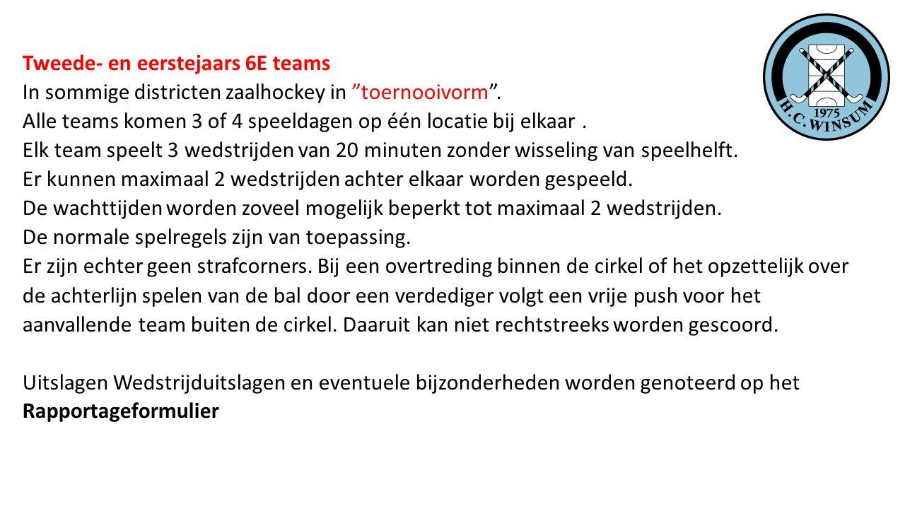 """Tweede- en eerstejaars 6E teams In sommige districten zaalhockey in """"toernooivorm"""". Alle teams komen 3 of 4 speeldagen op één locatie bij elkaar. Elk"""