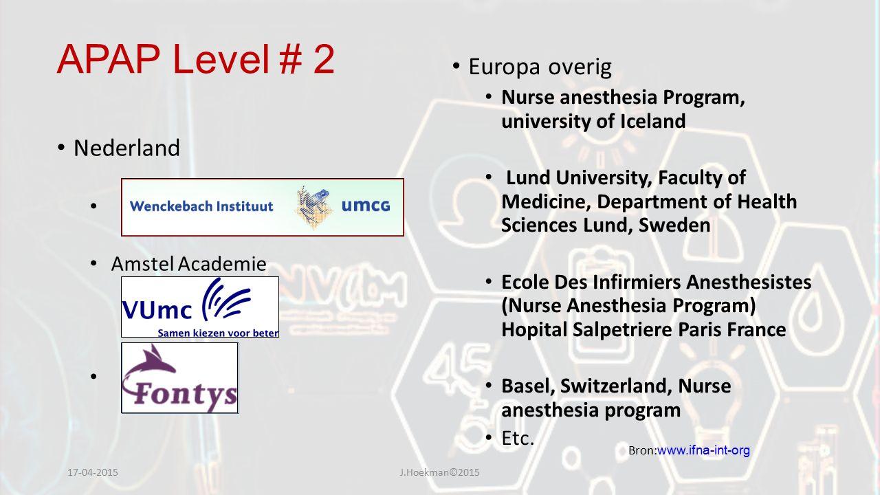 APAP Level # 2 Nederland Amstel Academie Europa overig Nurse anesthesia Program, university of Iceland Lund University, Faculty of Medicine, Departmen
