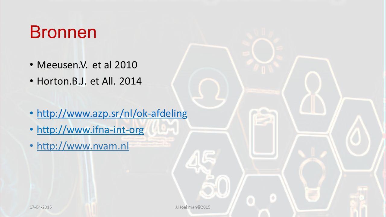 Bronnen Meeusen.V. et al 2010 Horton.B.J. et All. 2014 http://www.azp.sr/nl/ok-afdeling http://www.ifna-int-org http://www.nvam.nl 17-04-2015J.Hoekman