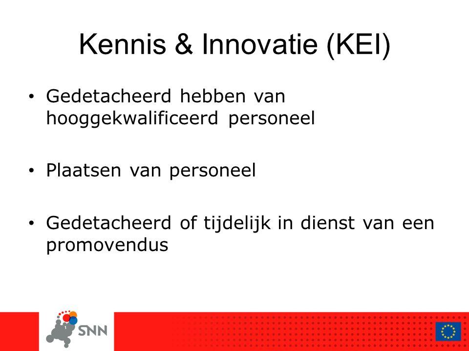 Kennis & Innovatie (KEI) Gedetacheerd hebben van hooggekwalificeerd personeel Plaatsen van personeel Gedetacheerd of tijdelijk in dienst van een promo