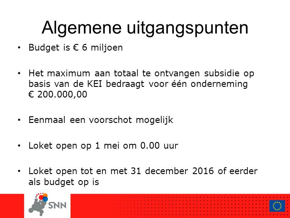Algemene uitgangspunten Budget is € 6 miljoen Het maximum aan totaal te ontvangen subsidie op basis van de KEI bedraagt voor één onderneming € 200.000