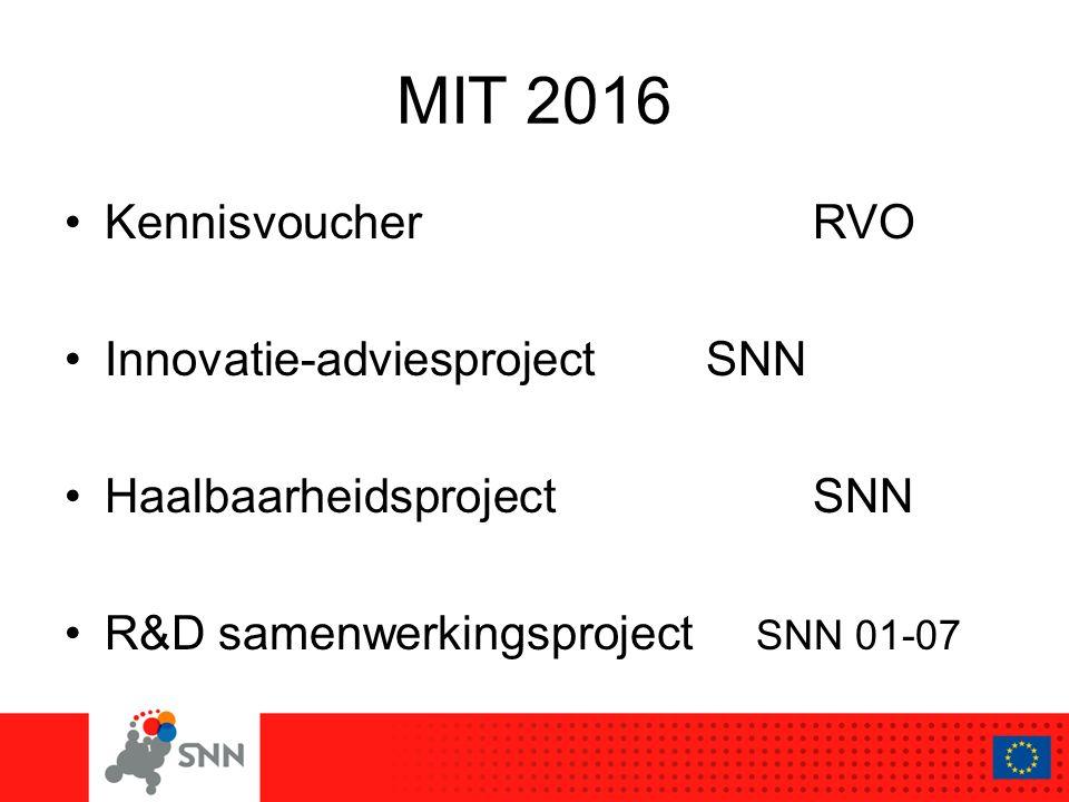 MIT 2016 KennisvoucherRVO Innovatie-adviesprojectSNN HaalbaarheidsprojectSNN R&D samenwerkingsproject SNN 01-07