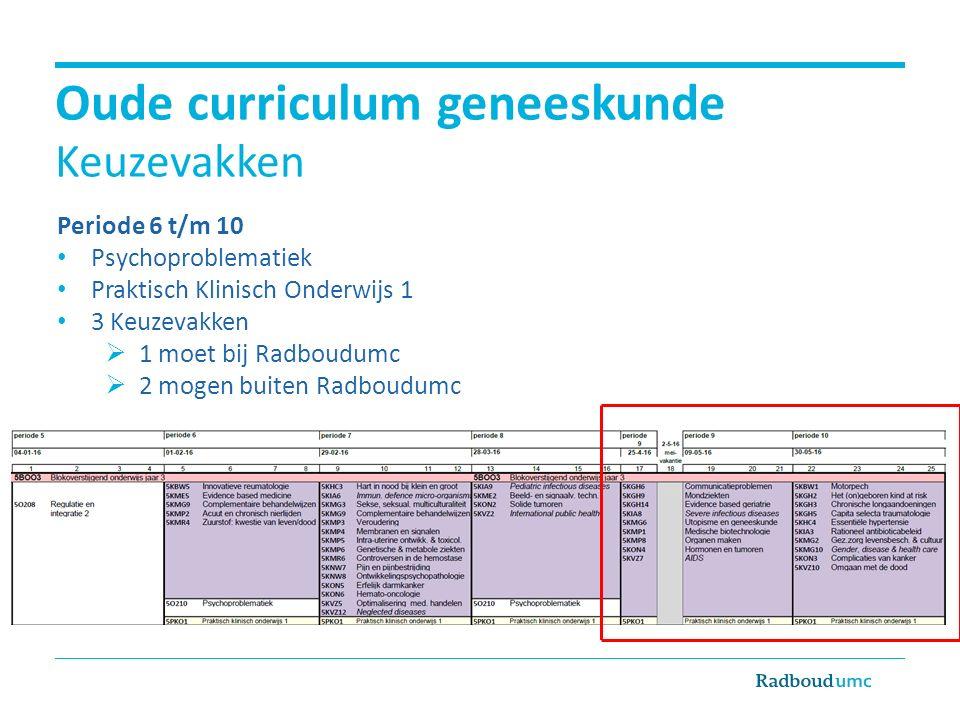 Oude curriculum geneeskunde Keuzevakken Periode 6 t/m 10 Psychoproblematiek Praktisch Klinisch Onderwijs 1 3 Keuzevakken  1 moet bij Radboudumc  2 mogen buiten Radboudumc