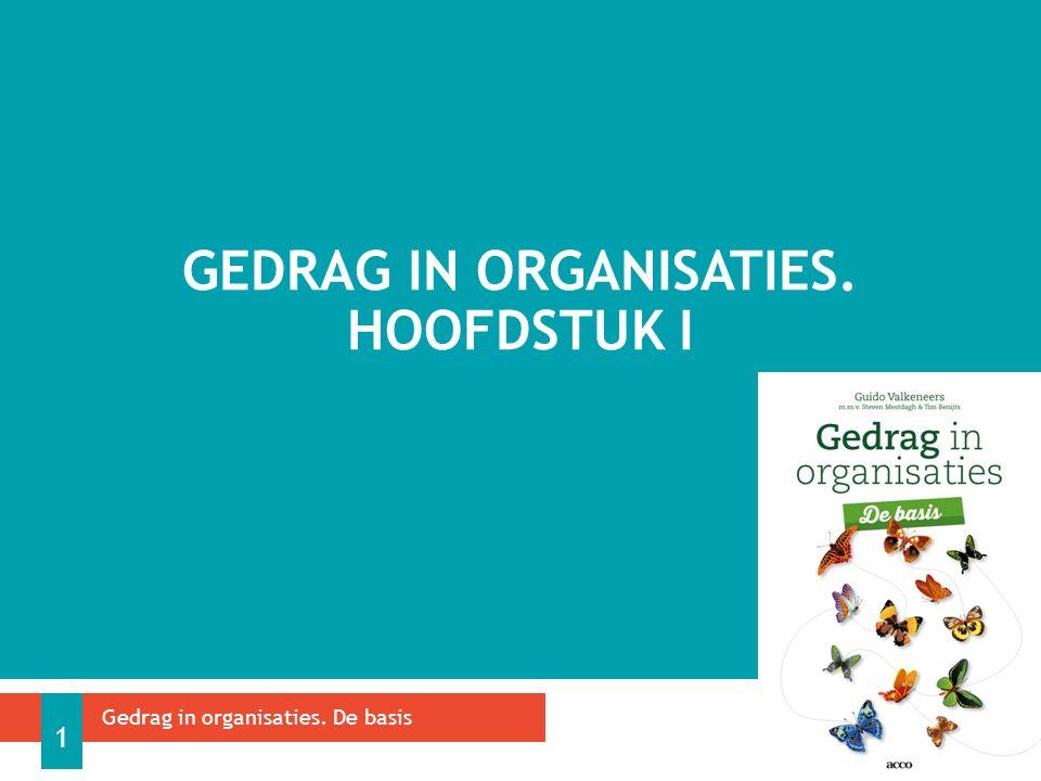 GEDRAG IN ORGANISATIES. HOOFDSTUK I Gedrag in organisaties. De basis 1