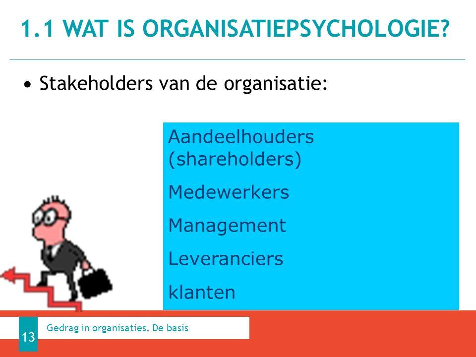 Stakeholders van de organisatie: 1.1 WAT IS ORGANISATIEPSYCHOLOGIE.