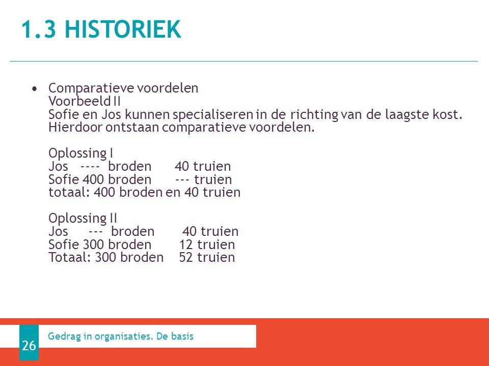1.3 HISTORIEK 26 Gedrag in organisaties.