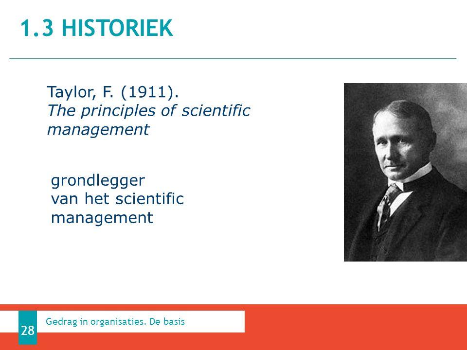 1.3 HISTORIEK 28 Gedrag in organisaties. De basis Taylor, F.