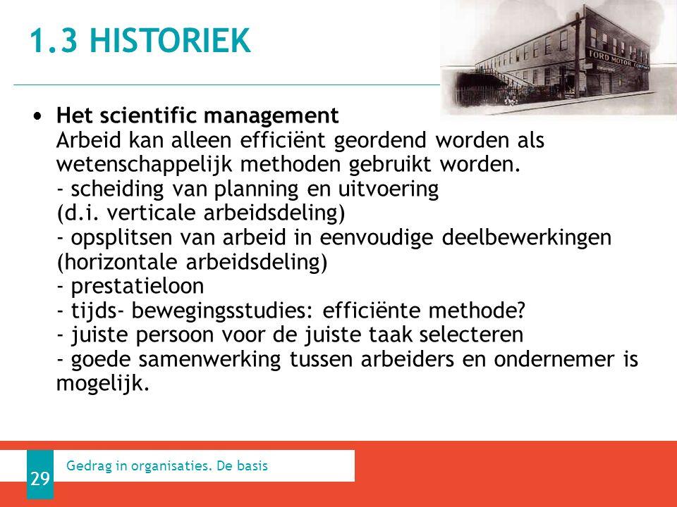 1.3 HISTORIEK 29 Gedrag in organisaties.
