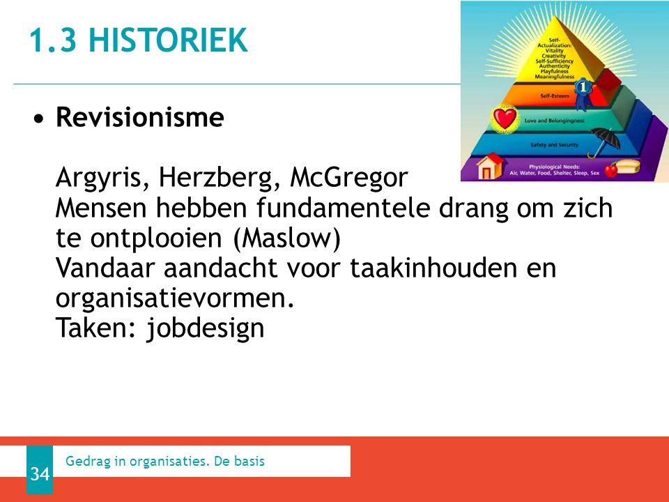 1.3 HISTORIEK 34 Gedrag in organisaties.