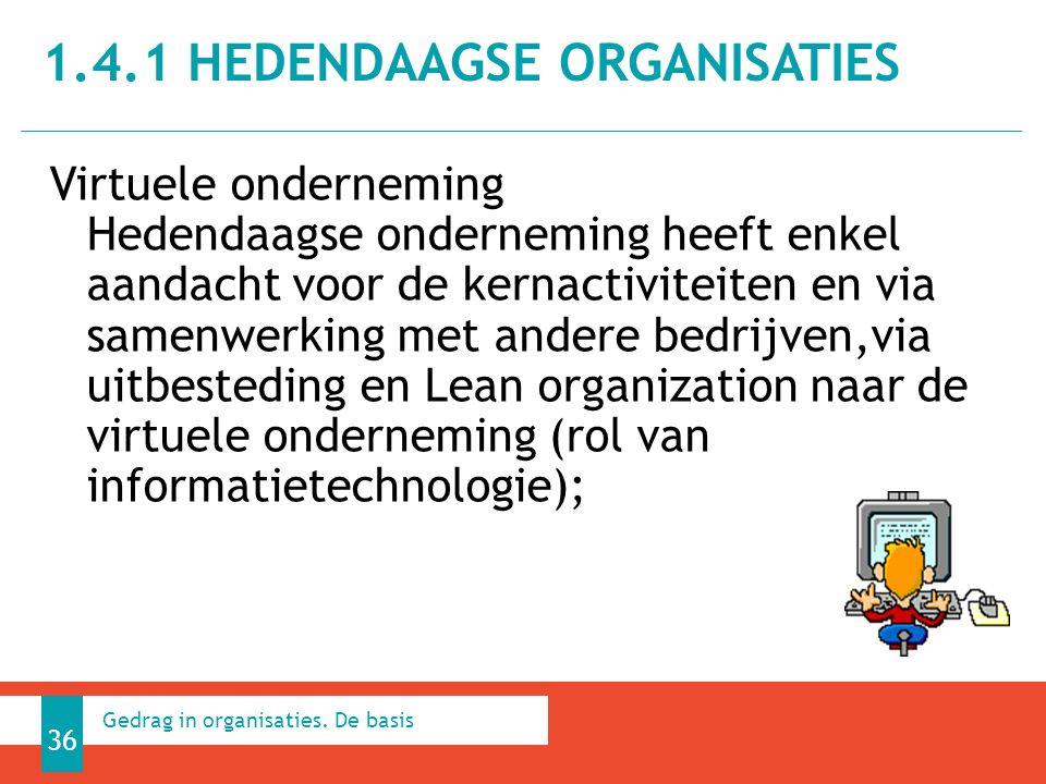 Virtuele onderneming Hedendaagse onderneming heeft enkel aandacht voor de kernactiviteiten en via samenwerking met andere bedrijven,via uitbesteding en Lean organization naar de virtuele onderneming (rol van informatietechnologie); 1.4.1 HEDENDAAGSE ORGANISATIES 36 Gedrag in organisaties.