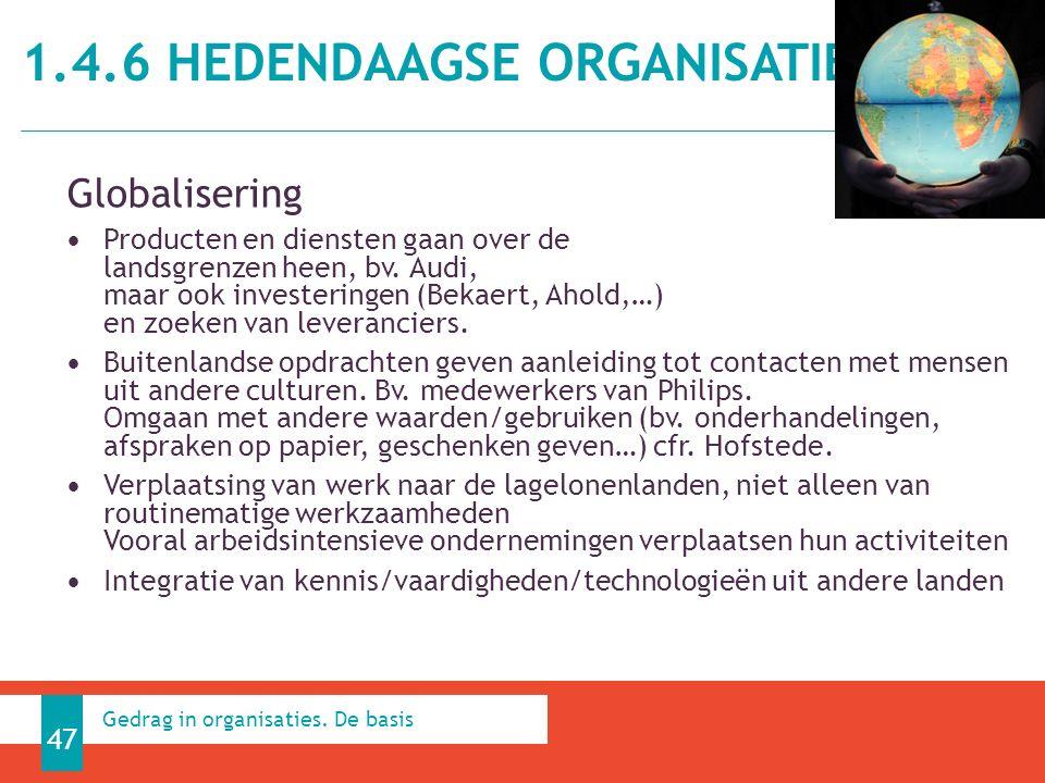 1.4.6 HEDENDAAGSE ORGANISATIES 47 Gedrag in organisaties.