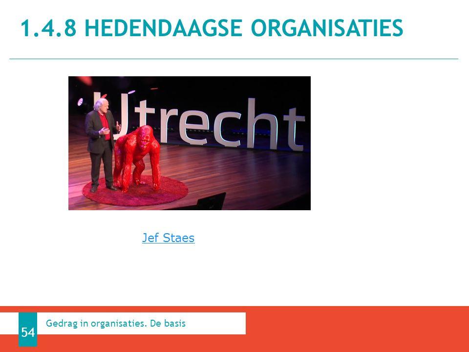 1.4.8 HEDENDAAGSE ORGANISATIES 54 Gedrag in organisaties. De basis Jef Staes