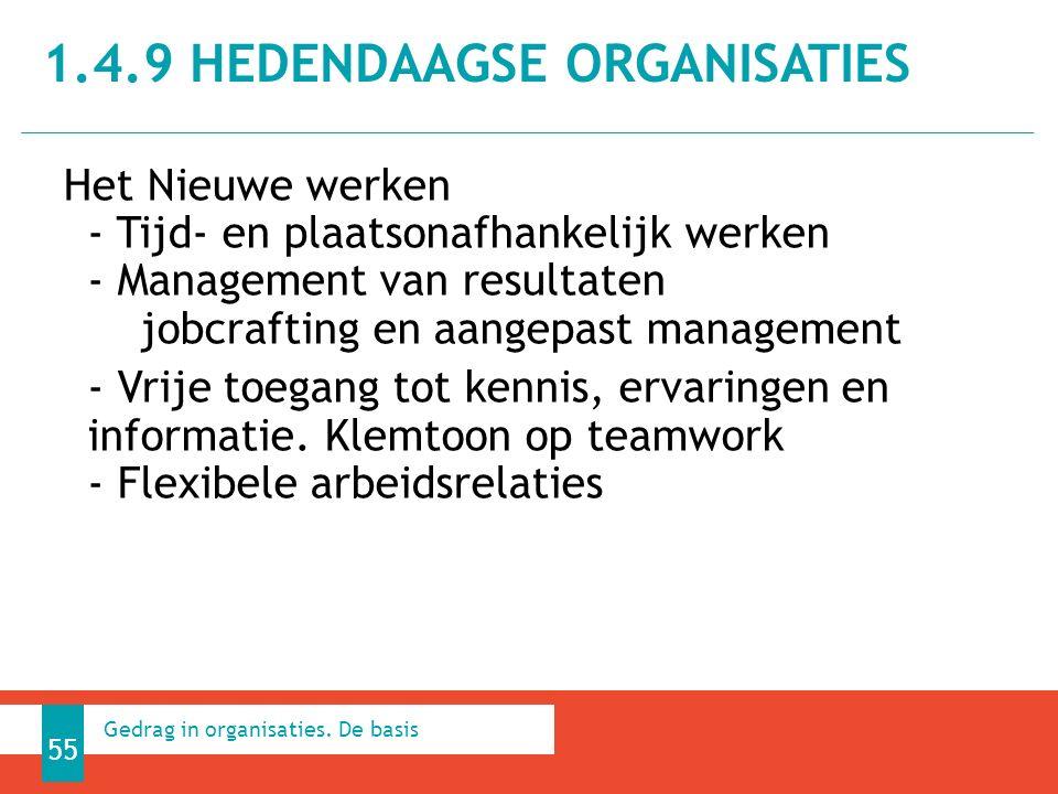Het Nieuwe werken - Tijd- en plaatsonafhankelijk werken - Management van resultaten jobcrafting en aangepast management - Vrije toegang tot kennis, ervaringen en informatie.