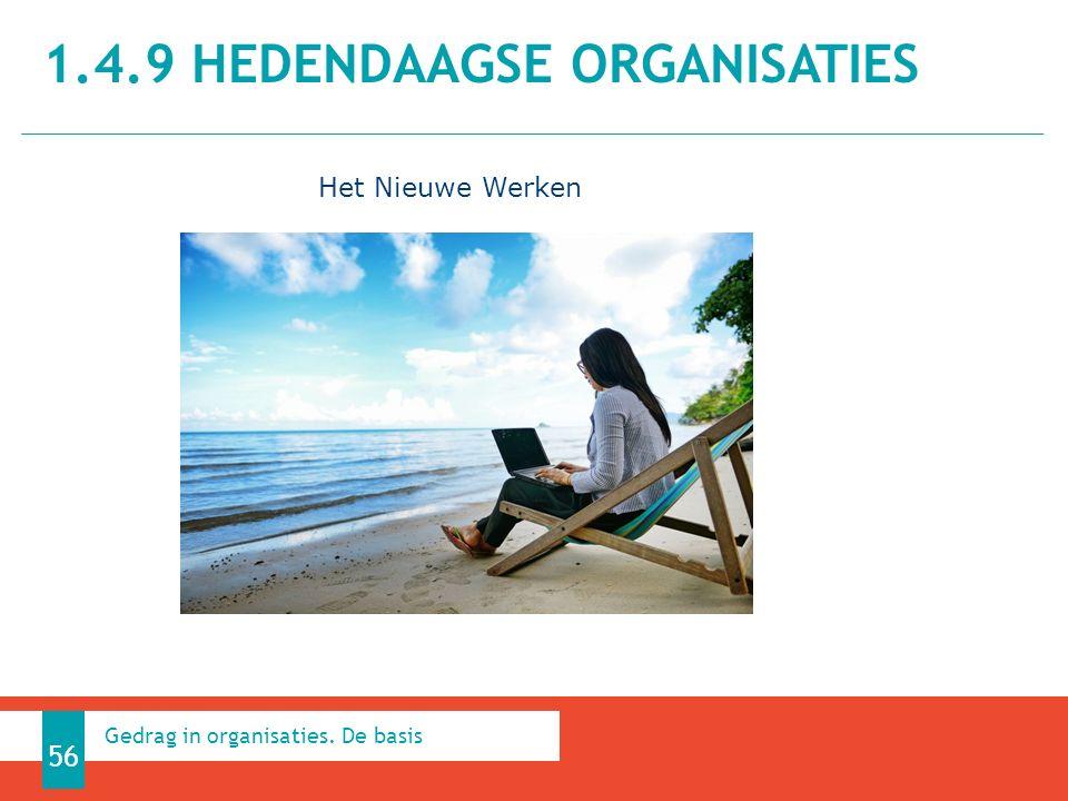 1.4.9 HEDENDAAGSE ORGANISATIES 56 Gedrag in organisaties. De basis Het Nieuwe Werken