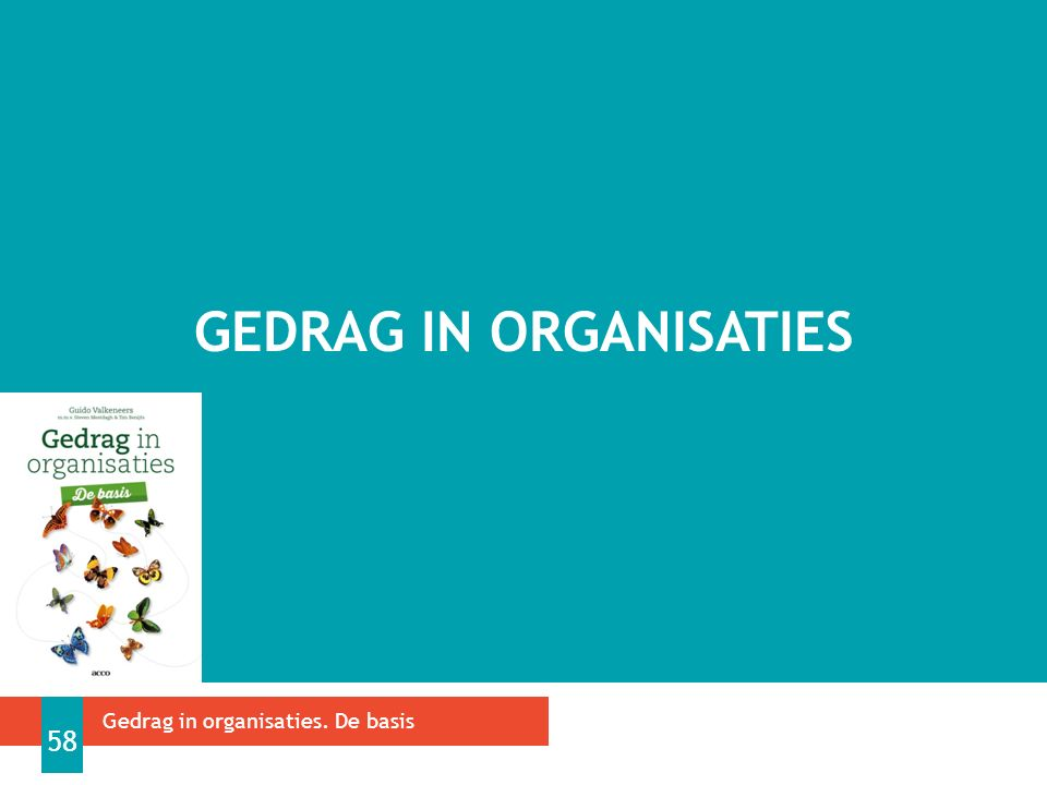 GEDRAG IN ORGANISATIES Gedrag in organisaties. De basis 58