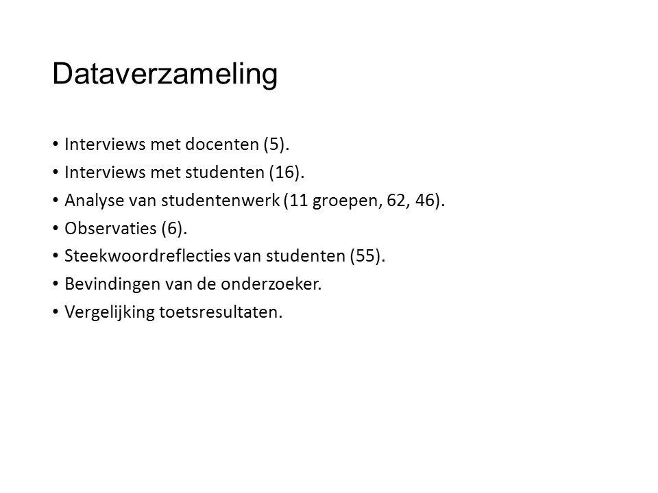 Dataverzameling Interviews met docenten (5). Interviews met studenten (16).