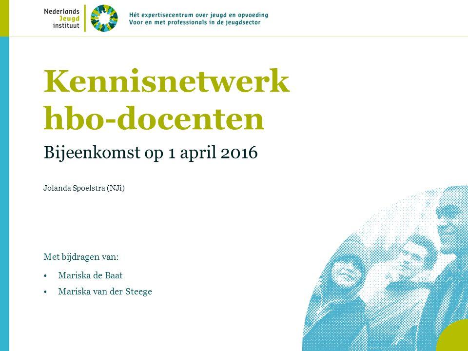 Kennisnetwerk hbo-docenten Bijeenkomst op 1 april 2016 Jolanda Spoelstra (NJi) Met bijdragen van: Mariska de Baat Mariska van der Steege