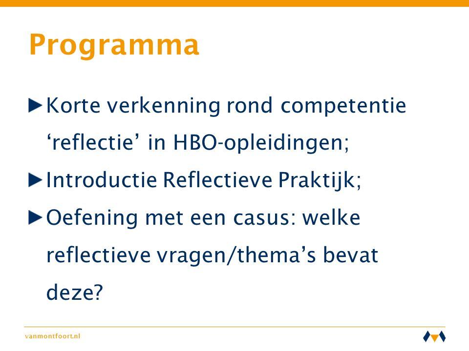 vanmontfoort.nl Programma Korte verkenning rond competentie 'reflectie' in HBO-opleidingen; Introductie Reflectieve Praktijk; Oefening met een casus: