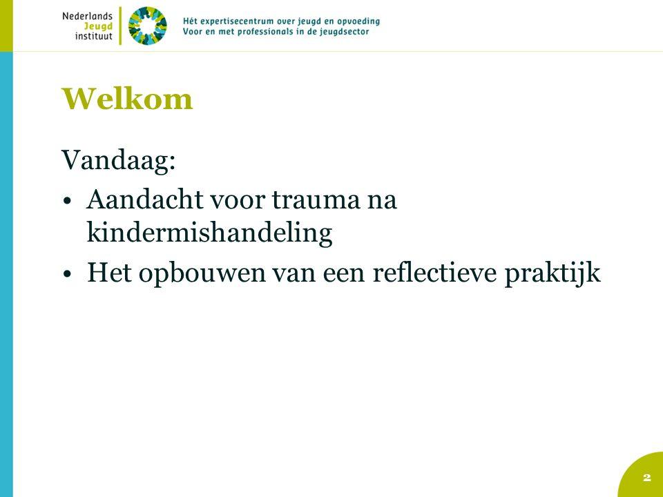 Welkom Vandaag: Aandacht voor trauma na kindermishandeling Het opbouwen van een reflectieve praktijk 2