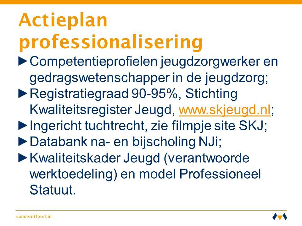 vanmontfoort.nl Actieplan professionalisering Competentieprofielen jeugdzorgwerker en gedragswetenschapper in de jeugdzorg; Registratiegraad 90-95%, S