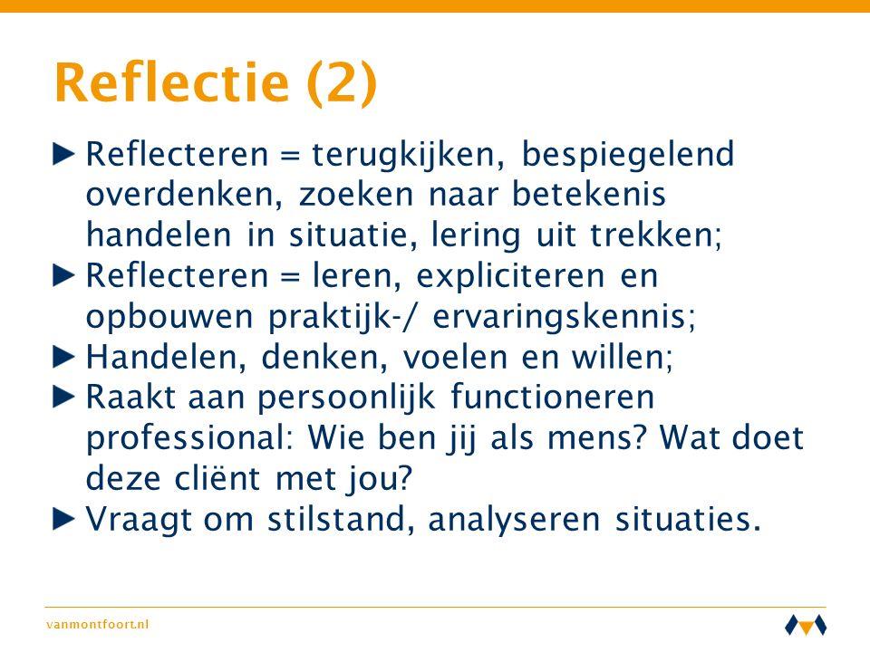 vanmontfoort.nl Reflectie (2) Reflecteren = terugkijken, bespiegelend overdenken, zoeken naar betekenis handelen in situatie, lering uit trekken; Refl